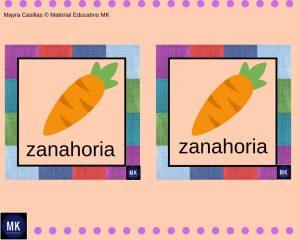 Memorama de Frutas y Verduras inglés español