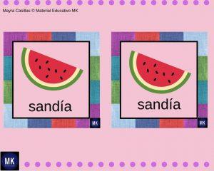 Memorama de Frutas y Verduras en ingles
